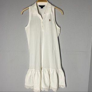 Polo Ralph Lauren White Tennis Dress Ruffle Bottom